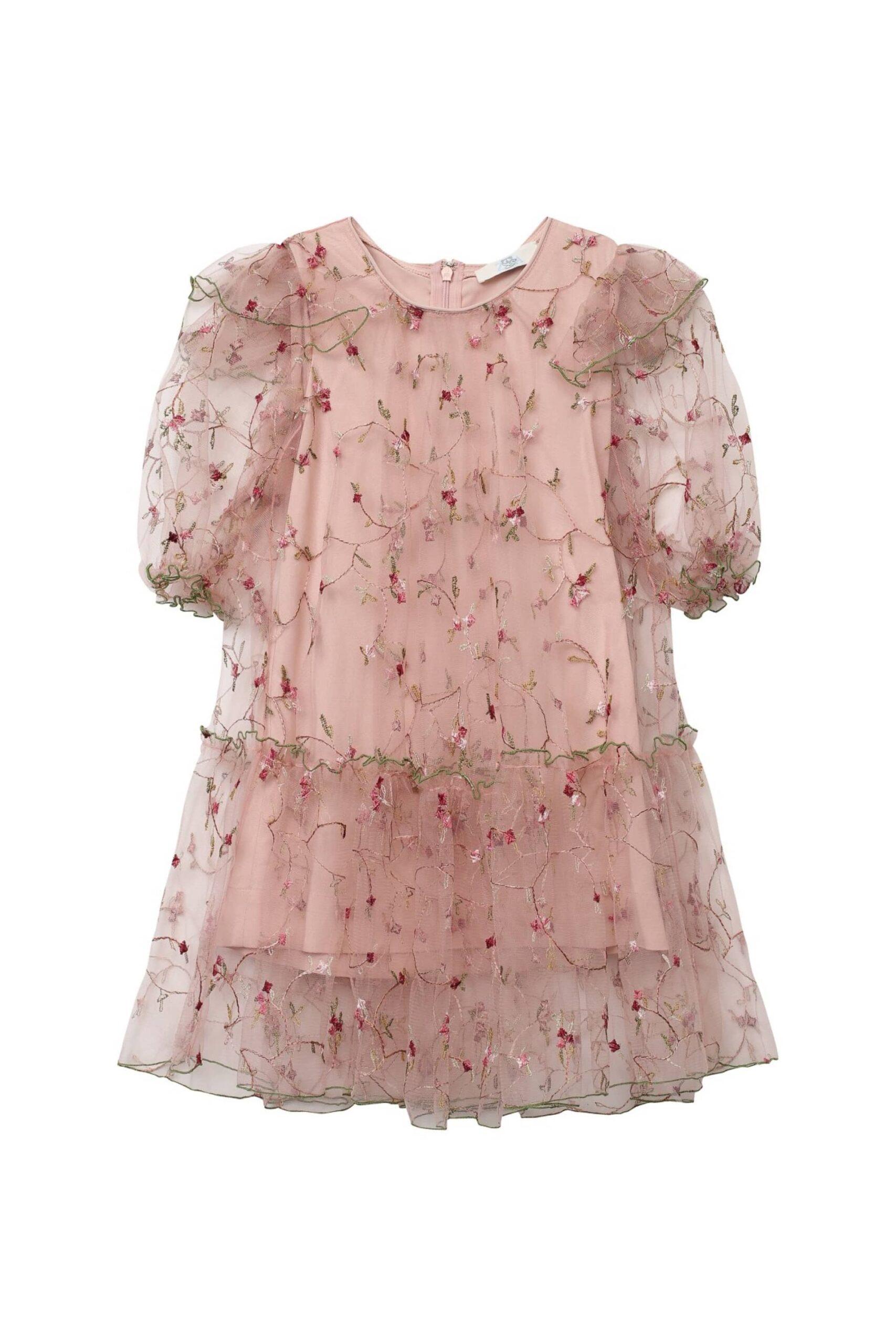 Платье из сетки воланами
