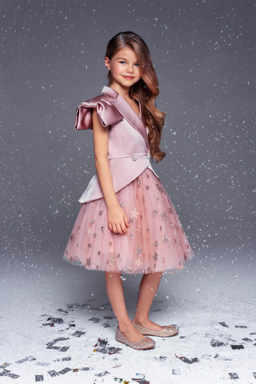 костюм из жакета и платья для девочки