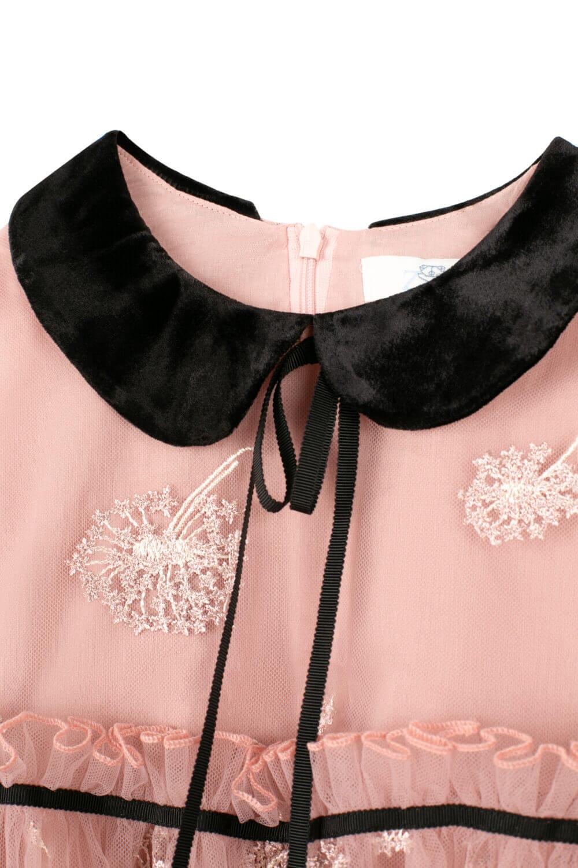 розовое платье для девочек с чёрным воротником