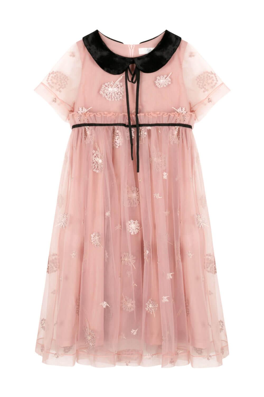 платье для девочки розовое с черным воротником