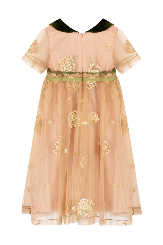 Платье золотое с зеленым воротником для девочек