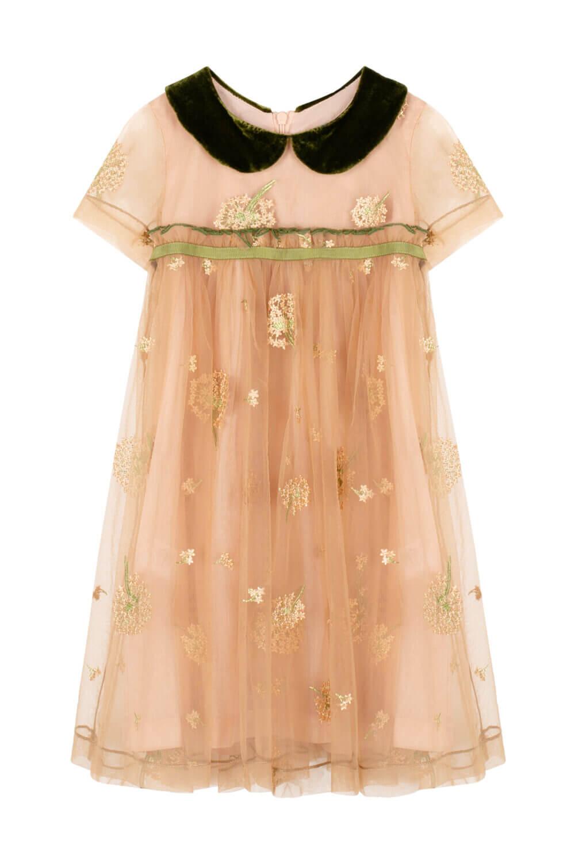 платье для девочки золотое с зеленым воротником